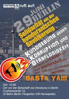 Plakat Demoaufruf Hondurassoli 29. Juni 2015 Berlin