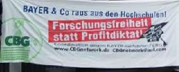 CBG-Protest gegen die Kooperation Uni Köln mit BAYER