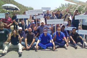Gewerkschafter in Kairo gegen die neuen Streikgesetze
