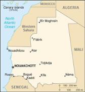 Landkarte Mauretaniens mit der Lage der Bergbaustadt Zouerate