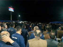 Die ORS Belegschaft streikt erneut gegen Entlassungen von Streikorganisatoren im Juni 2015