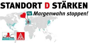 """IG Metall-Slogan zu Siemens: """"Standort D stärken - Margenwahn stoppen!"""""""