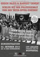 """Demo """"Gegen HoGeSa, Nazis und Rassist*innen! Kein Bock mehr auf Polizeigewalt!"""" am 2. Oktober 2015 ab 18 Uhr an den City Arkaden in Wuppertal"""
