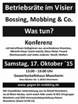 "[17. Oktober 2015] ""Betriebsräte im Visier – Bossing, Mobbing & Co. Was tun?"""