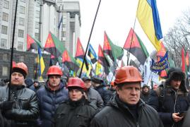 Bergarbeiterdemo Kiew Juni 2015