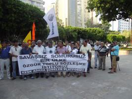 Protest der Gewerkschaftsföderation im öffentlichen Dienst KESK gegen die Attackien der türkischen Regierung hier am 28. Juli 2015 in Adana