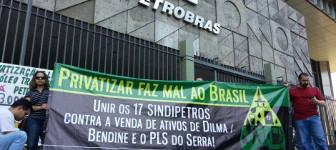Die Gewerkschaftsopposition FNP am Petrobras Streiktag 24. Juli 2015 - auch gegen die Privatisierungspläne der brasilianischen PT Regierung