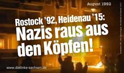 Heidenau 2015: Nazis raus aus den Köpfen! Plakat der Linken Sachsen