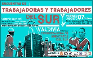 Plakat: Aufruf zur zweiten Konferenz der südchilenischen Gewerkschaftsopposition am 7.8.2015
