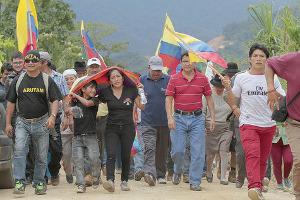Indigene Organisationen mobilisieren zum Protestmarsch auf Quito - in der ecuadorianischen Hauptstadt sollen die Proteste am 13. August 2015 zusammenlaufen