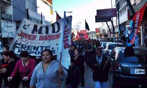 Kooperativendemonstration am 2. August 2015 im Süden von Buenos aires - kurz vor dem Polizeiüberfall