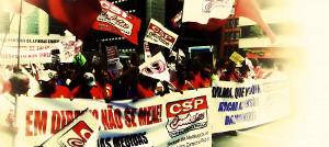 Gewerkschaftsdemonstration gegen Entlassungen in Sao Jose am 16. August 2015