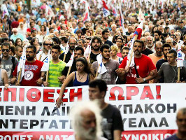 Referendumsdemonstration in Athen - nahezu 100 Prozent SyrizawählerInnen