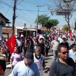 Demonstration entlassener GM Arbeiter vor dem Arbeitsgericht August 2015 Campinas, Brasilien