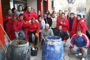 Die Müllabfuhr in Montevideo beim Generalstreik am 5.8.2015