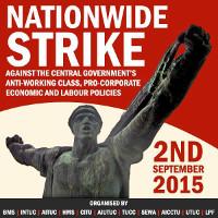 Eines der Streikplakate für den generalstreik in Indien am 2. September 2015