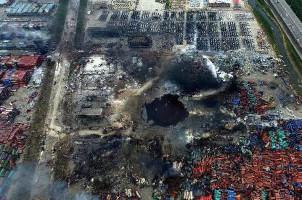 Der Krater im Hafen von Tianjin am 15. August 2015