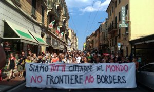 MigrantInnenprotest Ventimiglia August 2015