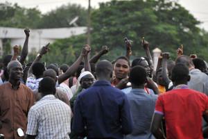 Gewerkschaftsprotest gegen den Putsch auf dem Platz der Nation in Ouagadougou am 19. September 2015