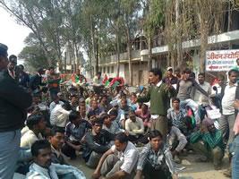 Protest der Gewerkschaft Pragatisheel Cement Shramik Samgh bei ACC-Holcim New Expansion Plant at Jamul in Indien