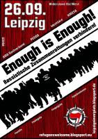 Leipzig, 26.09.2015: Enough is enough! Rassistische Zusammenrottungen verhindern!