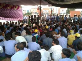 Streikversammlung Mumbai am 2. September 2015 beim Generalstreik