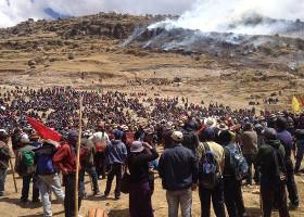 Kurz vor den tödlichen Schüssen -Las Bambas Protest 28.9.2015