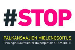 Mobilisierungsplakat des Gewerkschaftsbundes SAK zur Demonstration gegen die finnische Regierung am 18.9.2015