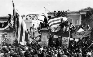 Protestdemo in Athen Juli 2015 bei der auch die Verteidigung der Volkskliniken ein Thema war