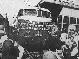 Protest gegen das Streikverbot für die italienischen Eisenbahner am 23.10.2015