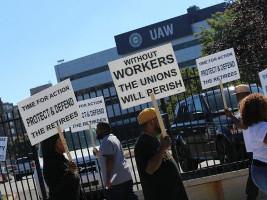 Proteste der UAW Mitglieder Detroit 20.9.2015