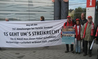 """Delegation des Sindelfinger Vereins """"Freunde der internationalen Automobilarbeiterkonferenz Sindelfingen"""" solidarisiert sich praktisch mit den 761 Abgemahnten bei Daimler Bremen beim Gewerkschaftstag der IG Metall"""