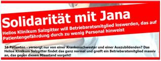 Solidarität mit Jana! Helios Klinikum Salzgitter will Betriebsratsmitglied loswerden, das auf Patientengefährdung durch zu wenig Personal hinweist