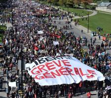 Gewerkschaftslinke fordert Generalstreik: Demo Montreal 3.10.2015