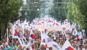 Demonstration des Gewerkschaftsbundes PAME gegen das neue Memorandum am 15. Oktober 2015