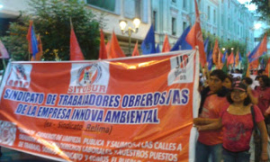 Demonstration der Gewerkschaft Sitobur in Lima gegen die Entlassung von 1650 ArbeiterInnen in der Straßenreinigung am 8.10.2015