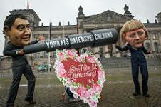 16.10.2015: Protest gegen Vorratsdatenspeicherung im Bundestag, Foto von Jakob Huber/Campact