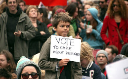 Auch flüchtende Kinder werden in Australien verfolgt: Lagerprotest im November 2015