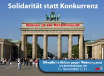 Solidarität statt Konkurrenz: Öffentliche Aktion gegen Wohnungsnot, 11. November 2015, Berlin