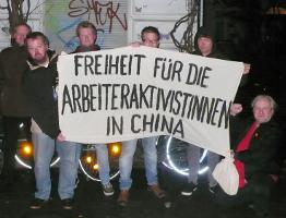 Solidaritätsaktion mit Chinesischen AktivistInnen am 21.12.2015 in der BRD