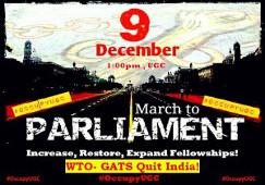 "OccupyUGC march"" am 09. Dezember 2015 in Indien"