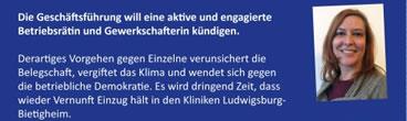 Protestkarte gegen die Kündigung von Caro beim Klinikum Ludwigsburg
