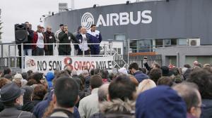 Protest vor Airbus Getafe am 11.1.2016 gegen den Schauprozess der spanischen Justiz