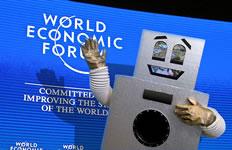 Dancing robot visits WEF 2016