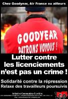 Soliplakat der ICO mit den verurteilten Kollegen von Goodyear Amiens Januar 2016