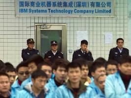 Auch sie stören die öffentliche Kapitalismusordnung Chinas: Streikende IBM Arbeiter November 2015