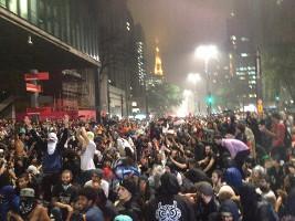 Demo gegen Fahrpreiserhöhung Sao Paulo 14.1.2016