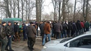 Ukrainische Bergarbeiter blockieren Grenzübergang nach Polen im Januar 2016
