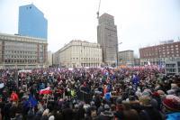 Demo in Warschau 8.1.2016 gegen das neue Mediengesetz - eine von vielen in Polen an diesem Wochenende