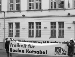 5.2.2016: Protest vor der ukrainischen botschaft Berlin in Solidarität mit Ruslan Kotsaba